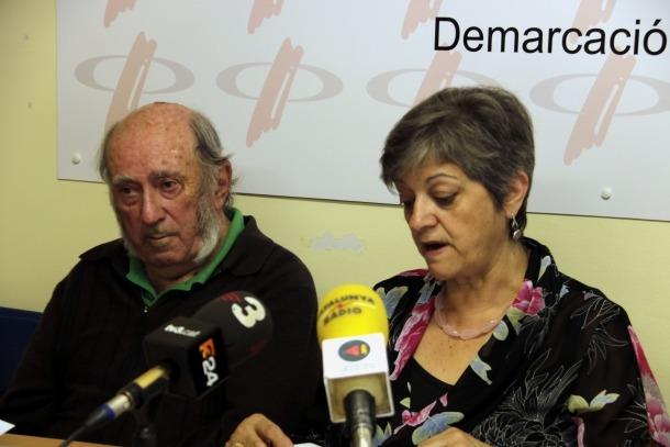Josep Maria Mata i Sofia Isús durant la roda de premsa de la plataforma.