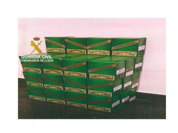 La guàrdia civil va comissar 10.000 grams de picadura de tabac.