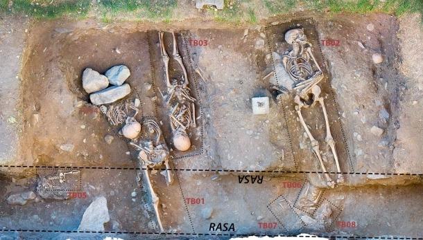 Pla zenital del jaciment de Santa Coloma.: els dos cossos que Regirarocs ha 'vestit' són els d'un noi d'uns 10 anys (TB03, a la foto), i el d'un nen d'uns 2 anyets, al seu costat, i del qual només se'n va conservar el tronc i el cap.