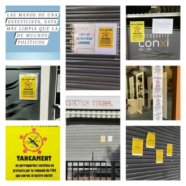 Collage dels propietaris de negocis de la Seu amb imatges dels establiments tancats per secundar la vaga.
