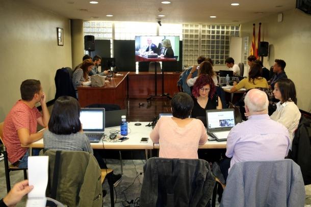 La sala de premsa habilitada perquè els mitjans segueixin el judici.