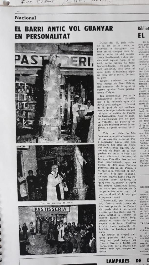 Crònica del setmanari 'El Poble Andorrà' amb la inauguració de la font, el 17 de novembre del 1977.