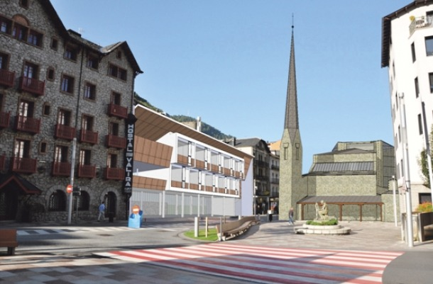 Projecte de Sostres per a un annex a l'hotel Valira (1955), i temple de l'Assumpció de Nostra Senyora projectat per Fisac a l'actual emplaçament de Sant Pere màrtir, a Escaldes (1951).