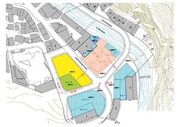 L'entorn de protecció de l'hotel: el museu s'erigirà als solars 4 (verd) i d (groc).