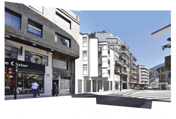 Edifici d'habitatges en lloc del xalet Farràs, obra de Sostres (1955), a la Rotonda de la capital.