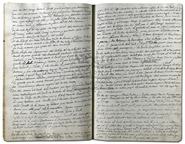Llibre d'actes del Consell de la Terra amb l'entrada corresponent al 8 d'agost del 1720. S'hi dona compte de les mesures per prevenir el contagi de la pesta marsellesa.
