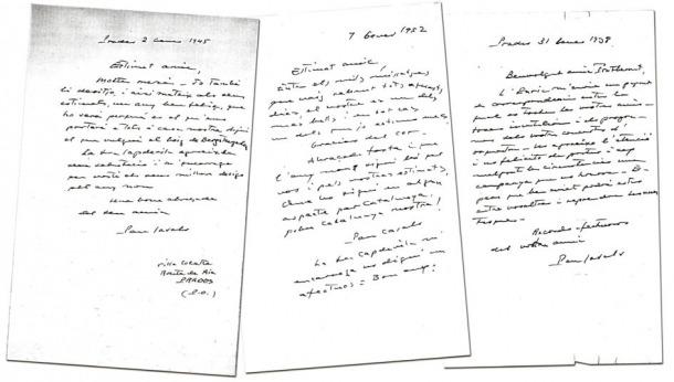 """La primera (2 de gener del 1945) i l'última carta de la sèrie (31 de gener del 1958); enmig, la del 7 de gener del 1952, que acaba així: """"...Que l'any nou sigui bó per vos i pels vostres estimats, que ho sigui en algun aspecte per Catalunya, pobra Catalunya nostra""""."""