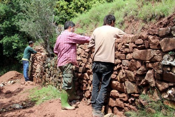 Algunes persones reparant un tros de paret de pedra seca.
