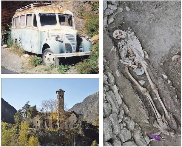 El Dodge Fargo de Fontaneda, als primers anys 80, quan encara no s'havia aixecat el mur actual; el jaciment del cementiri de Soldeu, excavat a la tardor, i Radio Andorra, que Velles Cases vol que formi una candidatura a la Unesco amb Sud Radio.