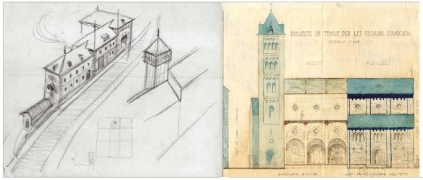 El primer esbós de la central, datat el 1931, ja incloïa els tres volums esglaonats; la torre, en canvi, es va descartar; Perspectiva lateral de Sant Pere màrtir, amb la torre neoromànica i els sis trams del temple: el cinquè no es va acabar fins al 1980.
