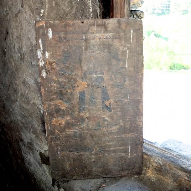 Estat en què es va trobar la xilografia, aquí encara a cal Gastó del Tarter.