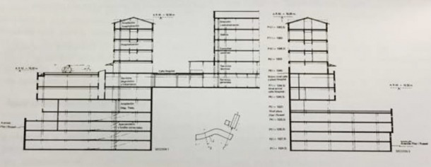 Alçat del projecte original de l'hospital, de nou amb el llosat a dos vessants.