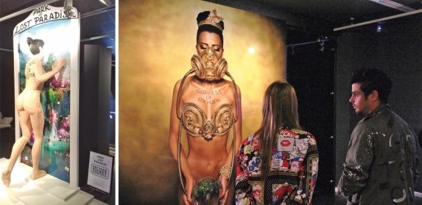 'Park Of Lost Paradise', un dels àmbits de la instal·lació 'Future Is Now', amb una nina d'enormes proporcions que entra a la tela, i 'Goddess Of Oxygen', retrat hiperrealista; a la dreta, Shangti.