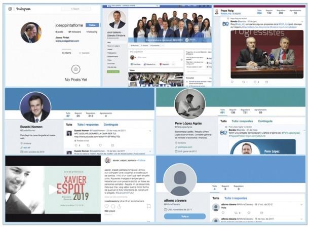 Els comptes dels set candidats de les llistes nacionals a Instagram, Facebook i Twitter.