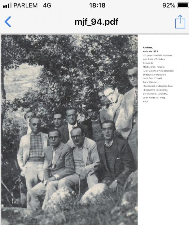 Canturri, al mig, amb camisa blanca, l'estiu del 1935 en algun lloc d'Andorra, amb altres refugiats pels Fets d'Octubre, entre els quals hi ha Martí Jordi, Juli Colom i Joan Ventosa.