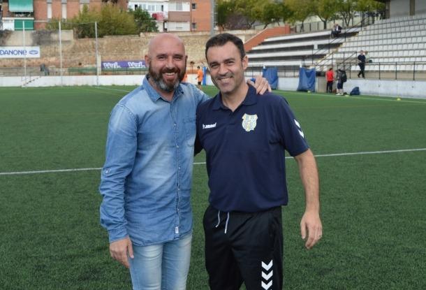 Nacho Castro, a l'esquerra de la imatge, amb Vicenç Fernández, a Palamós.