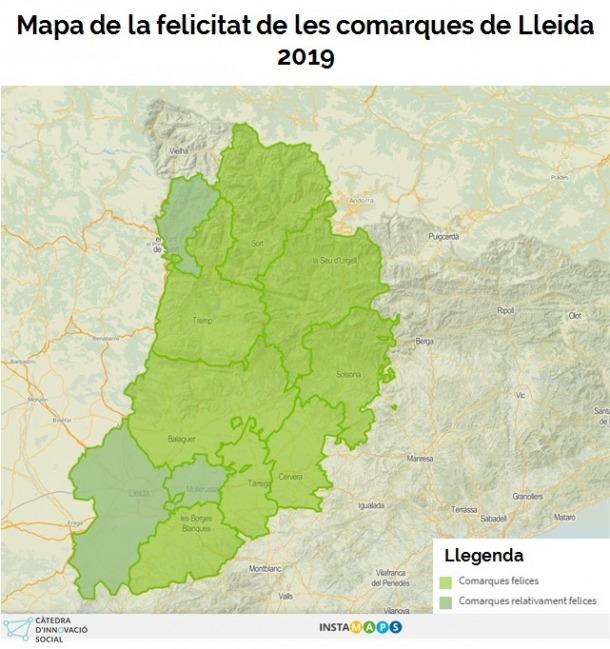 Aquest és el mapa de la felicitat elaborat per la Universitat de Lleida.