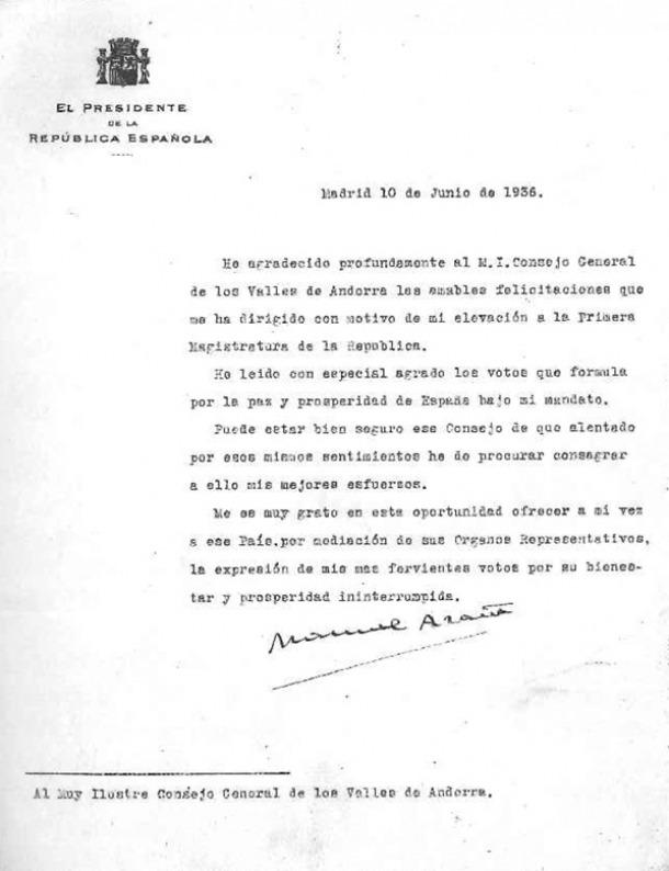 La carta d'Azaña al Consell General exhumada per Antoni Pol.