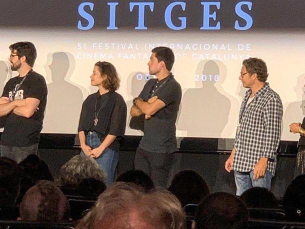 L'actriu Aida Folch i Álvaro Rodríguez Areny, dissabte a la nit a la sala Tramontana, a Sitges.