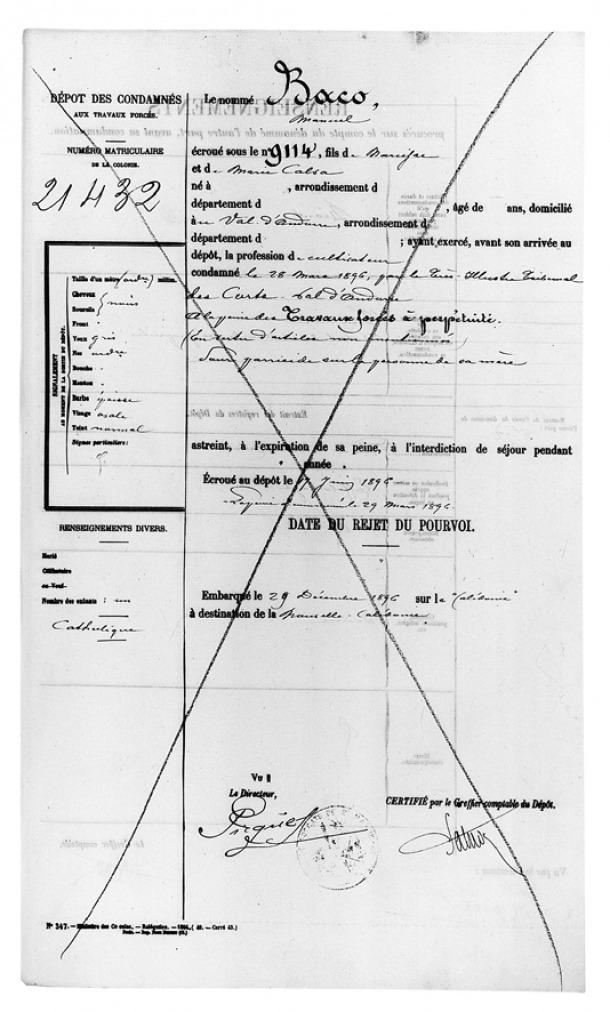 Primera pàgina de l'expedient de Baco, amb la data d'ingrés al presidi de Saint Martin de Ré, el 17 de juny del 1896.