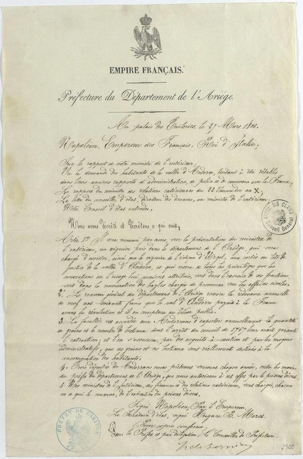 Andorra, Arxiu Nacional, Arxiu en Línia, decret imperial, Napoleó, Manual Digest, Politar Andorrà, Ribot