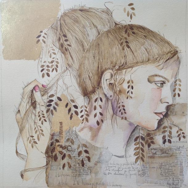 Un dels collages –aquarel·la, 'transfer', paper bíblia, cordó– de la sèrie 'Dels meus cabells agafes la vida', que es pot visitar fins al 30 d'abril.