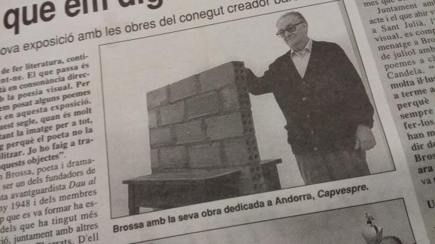Esbós d' 'Incomunicació' datat el 1990, quan es deia 'Capvespre', i Brossa a la sala de bombers amb la peça ja acabada, segons la crònica de Teresa Blanco per al 'Diari d'Andorra.'