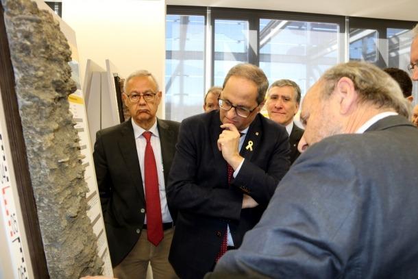 El president de la Generalitat, Quim Torra, a l'Institut Geològic i Cartogràfic de Tremp.