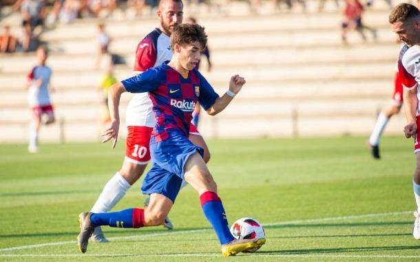 Sergi Serrano, amb l'FC Barcelona.