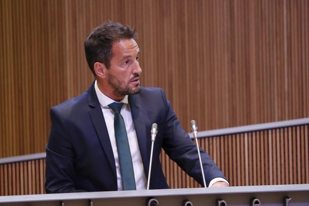 El president del grup socialdemòcrata, Pere López, en una sessió del Consell General.