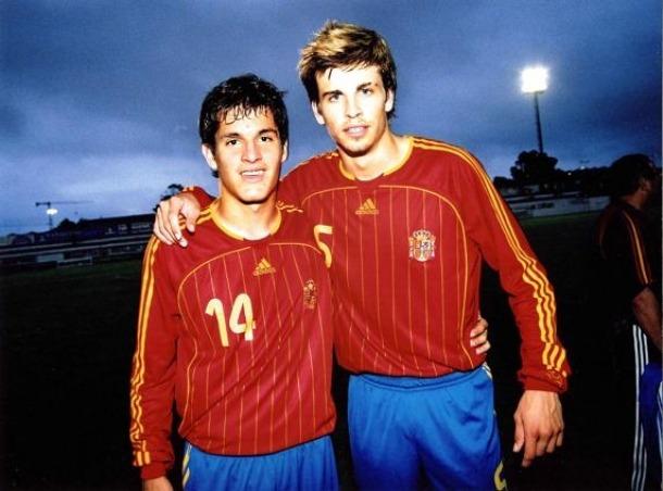 Marc Pedraza i Gerard Piqué van ser campions d'Europa sub-19 amb Espanya.
