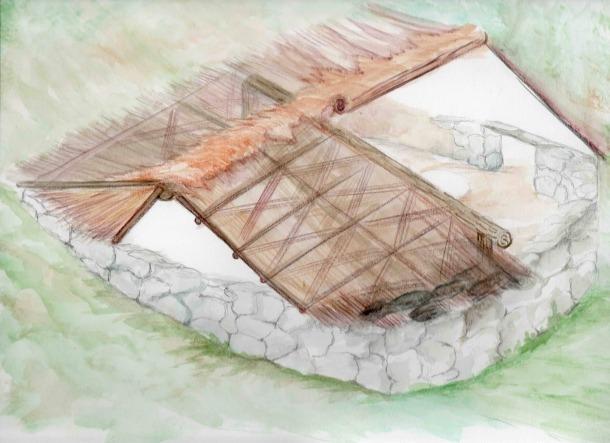 Reconstrucció de l'hàbitat de la Feixa del Moro, vist des de la façana posterior: feia 6,2 metres de llarg per 3,6 d'amplada, i un dels laterals es recolzava sobre el pendent de la muntanya: els arqueòlegs l'han datat entre meitat del Vi principis del IV mil·lenni abans de Crist.