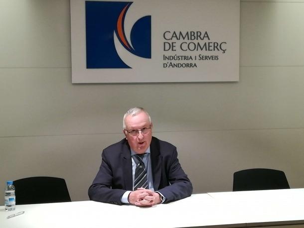 El nou president de la Cambra de Comerç, Miquel Armengol, després de ser elegit, ahir.