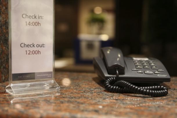 La recepció d'un establiment hoteler del país.