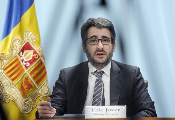 Un moment de la compareixença del ministre de Finances i portaveu de l'executiu, Eric Jover.