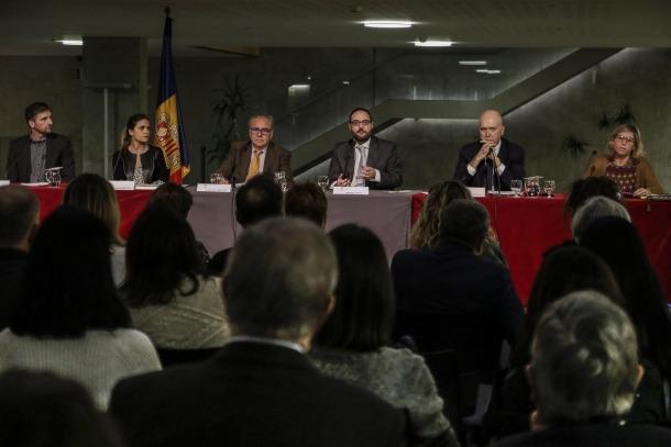 Un moment de l'acte que va tenir lloc al Consell General amb motiu del Dia europeu de la mediació, ahir.