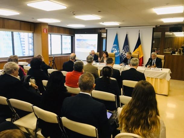 Un moment de la presentació del Congrés de neu i muntanya a la seu de l'OMT.