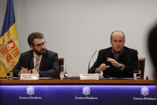 El ministre portaveu, Eric Jover, i el ministre de Justícia i Interior, Josep Maria Rossell, ahir.