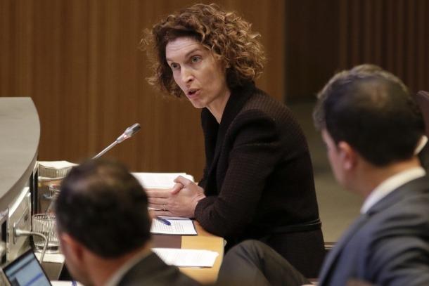La ministra Maria Ubach en una intervenció al Consell General.