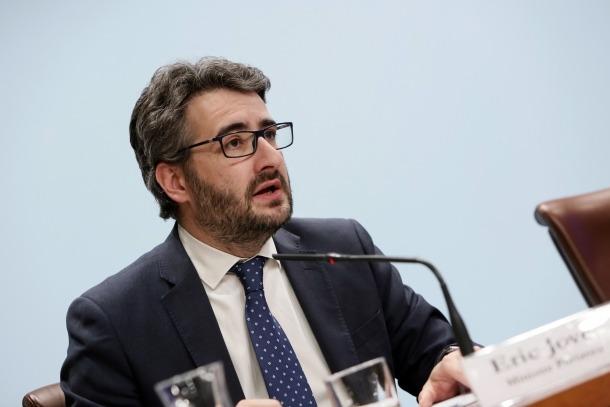 El ministre Jover en la roda de premsa posterior al consell de ministres d'ahir.