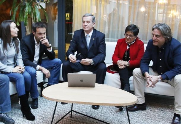 Roser Sorribes, Ricard Riba, Eusebi Nomen, Paquita Mora i Rafa Gaytán el dia de la presentació del projecte Andorra Sobirana.
