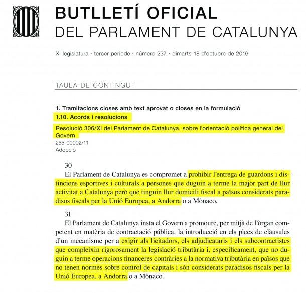 Moció al Consell perquè Catalunya no pugui vetar les empreses d'Andorra