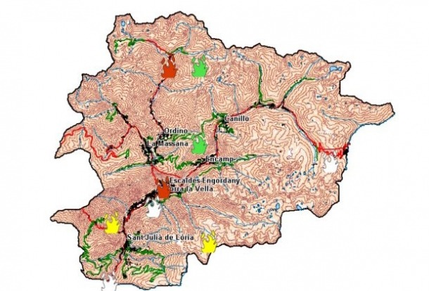 Mapa de perill d'incendi.