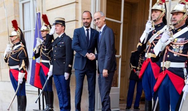 El primer ministre francès, Édouard Philippe, rep el cap de Govern, Antoni Martí, a l'Hotel Matignon, ahir.