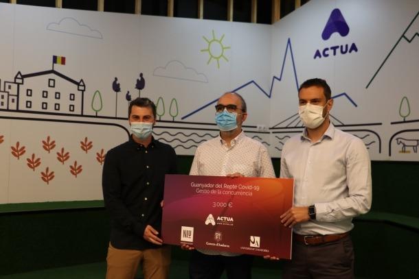 El director d'Actua Tech, Marc Pons, el director de Broox, Ramon Poca, i el secretari d'Estat de Diversificació Econòmica i Innovació, Marc Galabert.