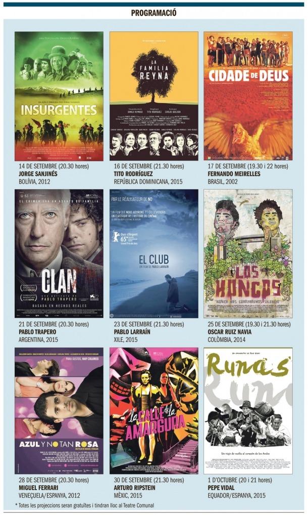 Andorra, capita liberoamericana de la cultura, cicle de cinema iberoamericà, Bajo Ulloa, Alas de mariposa, Insurgentes