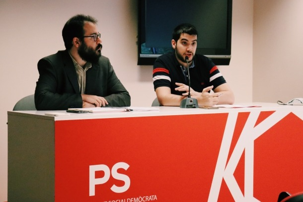 Carles Sánchez i Pere Baró en la roda de premsa d'aquest matí.