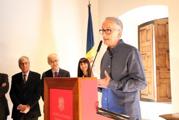 ANA/ El coordinador de la candidatura perquè el coprincipat sigui Patrimoni Mundial de la Unesco, Joan Reguant, durant l'acte d'aquest dijous a Casa de la Vall.