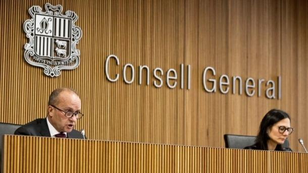 El ministre de Justícia i Interior, Josep Maria Rossell, durant la compareixença davant la Comissió de Justícia, Interior i Afers institucionals.