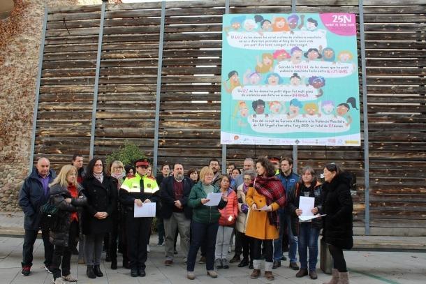 Un moment de la lectura del manifest a la plaça Soldevila.